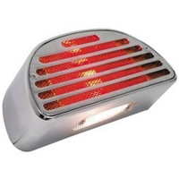"V-FACTOR TAILLIGHT W/TURN SIGNALS CUSTOM APP ALL MODELS12VMTG HOLES 2.5""CTR...CP BILLET ALUM"