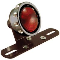 HARDBODY VINTAGE DRILLED TAILLIGHT CUSTOM USE WITH 12 VOLT BULB BLACK ALUMINUM LENS RING
