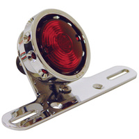 HARDBODY VINTAGE DRILLED TAILLIGHT CUSTOM USE WITH 12 VOLT BULB CHROME RING CHROME BRACKET