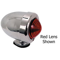 V-FACTOR BULLET MARKER LIGHT RED LENS DUAL FILAMENT 12 VOLT CHROME PLATED
