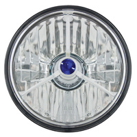 "Adjure HALOGEN HEADLIGHT LENS KIT 5-3/4"" DIAMOND CUT BLUE DOT INC 55/60 XENON H4 BULB"