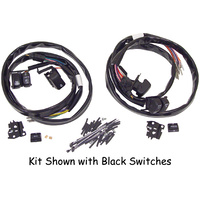 """V-FACTOR HANDLEBAR SWITCH WIRING KIT TOURING W/RADIO & CRUISE 50"""" WIRES CHROME SWITCHES"""