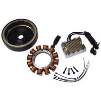 V-Factor Charging Kit W/Chrome Regulator Big Twin Softail 01-06 38Amp w/Standard Spline Rotor Suit Harley or Custom Use