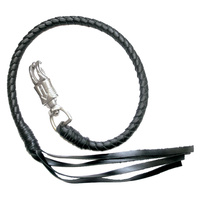 "Ironbraid GET BACK WHIP/BLACK HAND BRAIDED HANGS FROM LEVERS 36"" 1009-36-BLACK"