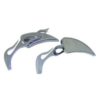 V-FACTOR  EVIL EYE MIRRORS W/FLAME STEM ALL OE MOUNTSRH/LH FITMENT CHROME PLATED ALUMINUM