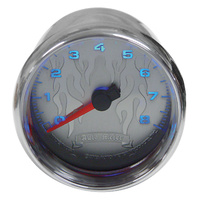 TACHOMETER8000 RPM AUTOMETER CUS A PPCHROME FLAME DIALCP BEZEL/CUP1