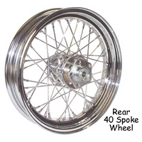 V-FACTOR  WHEEL 40 SPOKE 16 X 3.00 XL 55/78 W/DRUM BRK CHROME