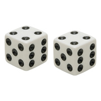 CUSTOM VALVE STEM CAP DICE/WHT FITS TUBE OR TUBELESS STEMS WHITE DICE/BLK DOTS MFG#DIC-WT