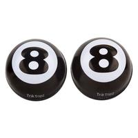 Trik Tops Custom Valve Stem Cap Pair Eight Ball Black & White
