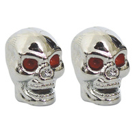 CUSTOM VALVE STEM CAPS SKULL FITS T UBE OR TUBELESS STEMS CHROME W/RED