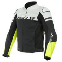Dainese Agile Leather Jacket Matte Black/White/Fluro-Yellow