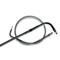 """Magnum Shielding MS-43254 Black Pearl Throttle Cable CL=34-3/4"""" Elbow=90o TL=5"""" Smooth Big Twin'96up"""