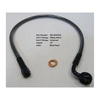 "Magnum Shielding MS-AS47215 Black Pearl 15"" Upper Front Brake Line w/10mm x 90 Degree Banjo"