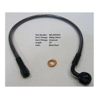 "Magnum Shielding MS-AS47219 Black Pearl 19"" Upper Front Brake Line w/10mm x 90 Degree Banjo"