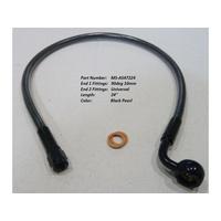 "Magnum Shielding MS-AS47224 Black Pearl 24"" Upper Front Brake Line w/10mm x 90 Degree Banjo"