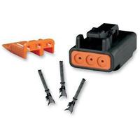 Namz NMZ-MDP-3B Deutsch DTM 3-Position Black Plug with (3) Stamped Terminals & Wedgel