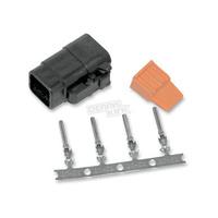 Namz NMZ-MDP-4B Deutsch DTM 4-Position Black Plug with (4) Stamped Terminals & Wedgel