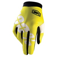 100% iTrack Youth Gloves Neon Yellow