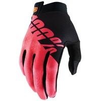 100% iTrack Gloves Black/Fluro Red