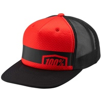 100% Quest Youth Snapback Hat Red