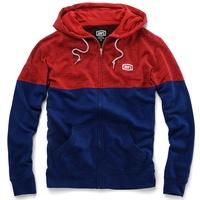 100% Arvius Hoodie Sweatshirt Red/Navy