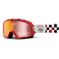 100% Barstow Classic Goggles OSFA-2 Spray w/Red Mirror Lens
