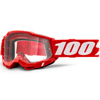 100% Accuri2 Goggle Red w/Clear Lens
