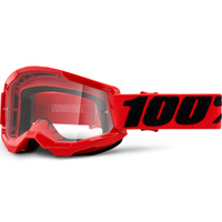 100% Strata2 Goggle Red w/Clear Lens