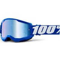 100% Strata2 Goggle Blue w/Mirror Blue Lens