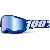 100% Strata2 Youth Goggle Blue w/Mirror Blue Lens
