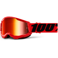 100% Strata2 Youth Goggle Red w/Mirror Red Lens