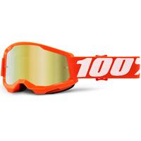 100% Strata2 Youth Goggle Orange w/Mirror Gold Lens