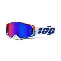 100% Armega Goggles Genesis w/ Blue/Red Mirror Lens