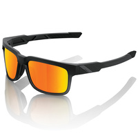 100% Type-S Sunglasses Soft Tact Black w/Hiper Blue Multilayer Mirror Lens