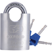 Oxford CS09 Marine Proof Stainless Lock 50mm Silver
