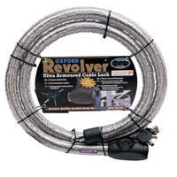 Oxford Revolver Armoured 25mm x 1.4m Cable Lock Silver