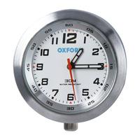 Oxford Analogue Clock Silver Case w/White Face