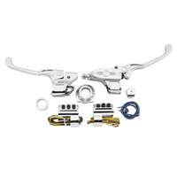 Performance Machine P00624019CH Complete Handlebar Control Kit w/Cable Clutch Single Disc Big Twin'84-11 w/Clutch Cable Chrome (Kit)
