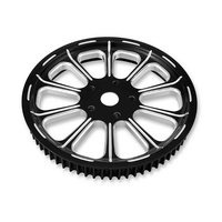 """Performance Machine P00937666RELLBMP Revel 66T x 1"""" Pulley Kit Platinum Black Contrast Cut for Softail 18up"""