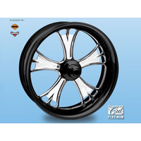 "Performance Machine P01573809RGASBMP Gasser 18"" x 4.25"" Wheel w/Contour Rim Lip w/out Hub Platinum Black Contrast Cut"
