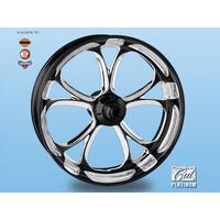 "Performance Machine P01573809RLUXBMP Luxe 18"" x 4.25"" Wheel w/Contour Rim Lip w/out Hub Platinum Black Contrast Cut"