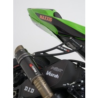 R&G Racing Exhaust Hanger w/Footrest Blanking Plate (Kit) Black for Kawasaki ZX6R 09-20