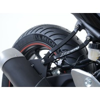 R&G Racing Exhaust Hanger w/Footrest Blanking Plate (Kit) Black for Yamaha YZF-R25 14-20/YZF-R3 15-20