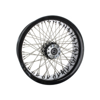 "Ride Wright RID-03856-00SC-BLK 60 Spoke 18"" x 5.50"" Wide Crosslaced Wheel Black Rim & Polished Stainless Steel Spokes & Nipples"