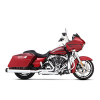 Rinehart Racing RIN-100-0406T MotoPro 45T Slimline Dual Exhaust System Chrome w/Black Traditional End Caps for Touring 17-Up