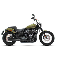 Rinehart Racing RIN-200-0203C 2-1 Exhaust System Black w/Chrome End Cap for Deluxe/Softail Slim/Street Bob/Low Rider/Fat Bob 18-Up/Standard 20-Up