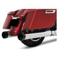 "Rinehart Racing RIN-500-0185 DBX 4.5"" Mufflers Chrome w/Black Traditional End Caps (DBX45) for Touring 17-Up"
