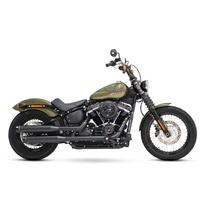 "Rinehart Racing RIN-500-1201 Slip-On 3.5"" Mufflers w/Black Finish & Black Contrast End Caps Softail 18up"