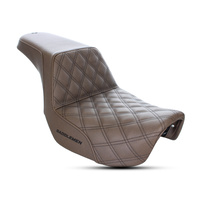 Saddlemen SAD-806-04-172BR Step-Up Lattice Stitch Dual Seat Brown w/Black Double Diamond Lattice Stitch for FXD'06-17
