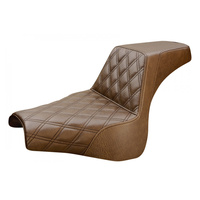 Saddlemen SAD-818-27-172BR Step-Up Lattice Stitch Dual Seat Brown w/Black Double Diamond Lattice Stitch for FLFB 18up